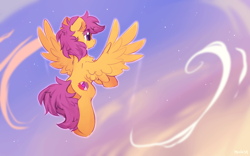 Size: 1600x1000 | Tagged: safe, artist:mirtash, scootaloo, pegasus, pony, chest fluff, cloud, crying, cute, cutealoo, dusk, ear fluff, female, filly, flying, rear view, scootaloo can fly, sky, solo, spread wings, stars, tears of joy, teary eyes, wings
