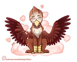 Size: 1904x1527 | Tagged: safe, artist:chebypattern, oc, oc only, oc:luke homes, griffon, cloud, cute, griffon oc, on a cloud, patreon, patreon logo, patreon reward, simple background, sitting, sitting on a cloud, smiling, solo, transparent background, wings