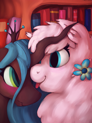 Size: 3000x4000 | Tagged: safe, artist:incendiaryboobs, queen chrysalis, oc, oc:fluffle puff, changeling, pony, :p, blushing, canon x oc, chrysipuff, female, lesbian, shipping, tongue out