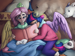 Size: 4000x3000 | Tagged: safe, artist:incendiaryboobs, angel bunny, fluttershy, harry, twilight sparkle, bear, bird, ferret, human, blanket, book, female, humanized, lesbian, shipping, twishy, winged humanization, wings