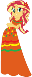 Size: 232x560 | Tagged: safe, artist:selenaede, artist:user15432, sunset shimmer, human, equestria girls, base used, cinco de mayo, clothes, crossed arms, dress, flower, flower in hair, orange dress, red flowers