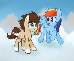 Size: 1800x1500 | Tagged: safe, artist:handgunboi, rainbow dash, oc, oc:skittle, pegasus, pony, canon x oc, cloud, female, male, mare, shipping, skidash, stallion, straight