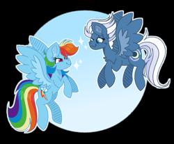 Size: 1280x1058 | Tagged: safe, artist:yourrdazzle, night glider, rainbow dash, pony, backwards cutie mark, flying, simple background, transparent background