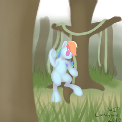 Size: 2000x2000   Tagged: safe, artist:luohanpone, rainbow dash, pony, semi-anthro, digital painting, forest, solo, unfinished art, wip