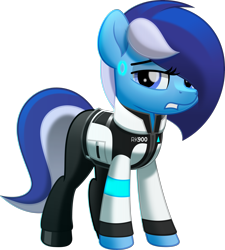 Size: 5000x5558 | Tagged: safe, artist:jhayarr23, oc, oc only, oc:brushie brusha, android, earth pony, pony, robot, robot pony, blue mane, clothes, cosplay, costume, detroit: become human, diode, female, jacket, looking at you, pants, rk900, shadow, shoes, simple background, solo, text, transparent background, vector