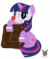 Size: 1112x1312 | Tagged: safe, artist:wheatley r.h., derpibooru exclusive, oc, oc only, oc:twi clown, unicorn, bowtie, clown, clown makeup, clown nose, cookie, female, food, giant cookie, happy, holding, mane, mare, mexico, simple background, solo, vector, watermark, white background
