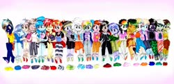 Size: 4128x2004 | Tagged: safe, alternate version, artist:liaaqila, oc, oc only, oc:aerobic chromatic, oc:anarchy gear, oc:elizard draco, oc:feather flight (ice1517), oc:glitter ink, oc:gloomy harmony, oc:greyscale paige, oc:hallows eve, oc:merry mischief, oc:mischivevous spirit, oc:pastel activity, oc:ruby (ice1517), oc:sea strike, oc:seaweed shores, oc:shadow stalk, oc:snowflake shine, oc:spirit sparrow, oc:sunshine smiles (ice1517), oc:violetta pages, oc:winter wind (ice1517), demon, equestria girls, amputee, angel, bandage, bandana, barefoot, bomber jacket, bondage, bra, bra strap, camouflage, cardigan, choker, clothes, coat, commission, crop top bra, crying, discarded clothing, dress, equestria girls-ified, eye scar, eyes closed, feather, feet, female, fetish, foot fetish, glasses, goggles, headband, hoodie, hug, jacket, jeans, jewelry, laughing, leggings, looking at each other, markings, multicolored hair, nonbinary, one eye closed, open mouth, pants, peg leg, pigtails, pirate, prosthetic leg, prosthetic limb, prosthetics, rainbow hair, scar, scarf, shirt, skirt, socks, soles, spiked choker, striped socks, t-shirt, tanktop, tears of laughter, tickle fetish, tickle torture, tickling, traditional art, twintails, unamused, underwear, vest, wall of tags, wink, worried