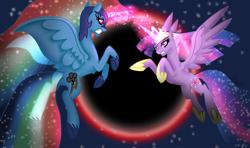 Size: 1024x607 | Tagged: safe, artist:rainbow dash is best pony, rainbow dash, twilight sparkle, alicorn, pony, crown, eclipse, fight, flying, gritted teeth, helmet, hoof shoes, jewelry, nightmare rainbow dash, nightmarified, race swap, regalia, spread wings, stars, twilight sparkle (alicorn), wings
