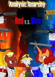 Size: 1024x1418 | Tagged: safe, artist:jasperpie, oc, oc:dr. wolf, oc:firebrand, oc:keyframe, anthro, pony, unicorn, wolf, analysis anarchy, male, movie poster, photo, red vs blue, team fortress 2, tf2 analysis anarchy