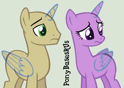 Size: 948x674 | Tagged: safe, artist:ponybasesrus, oc, oc only, alicorn, pony, alicorn oc, base, duo, eyelashes, female, horn, looking back, male, mare, simple background, stallion, wings, worried