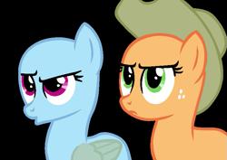 Size: 793x562   Tagged: safe, artist:rakuraikaze, applejack, rainbow dash, earth pony, pegasus, pony, bald, base, duo, eyelashes, female, freckles, frown, hat, looking up, mare, simple background, suspicious, transparent background