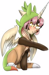 Size: 1812x2756 | Tagged: safe, artist:scribs, oc, oc only, alicorn, chespin, pony, aafe, big eyes, chespin onesie, crossover, cute, digital, ear fluff, onesie, pokémon, sitting, solo, wing fluff