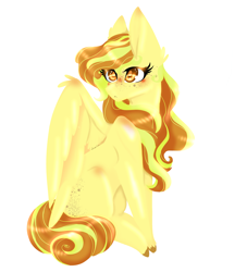 Size: 2500x2756 | Tagged: safe, artist:scribs, oc, pegasus, pony, big ears, big eyes, blushing, butt freckles, curly hair, curly mane, ear fluff, eye shine, fluffy wings, freckles, full body, lineless, lineless art, mane highlights, my little pony, pointy hooves, solo, wings