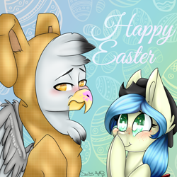 Size: 2500x2500 | Tagged: safe, artist:scribs, oc, oc:bookie, oc:gunny, earth pony, griffon, pony, animal costume, beak, big ears, big eyes, blushing, bunny costume, chest feathers, clothes, costume, digital, ear fluff, easter, easter egg, egg, embarrassed, feather, foe, freckles, green eyes, hat, head feathers, holiday, my little pony, paint, ribbon, snicker, the pitt, yellow eyes