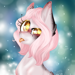 Size: 2500x2500 | Tagged: safe, artist:scribs, oc, earth pony, pony, :p, big ears, big eyes, digital, ear fluff, eye shine, freckles, galaxy, glitter, painting, pink mane, smiling, smirk, solo, spots, tongue out