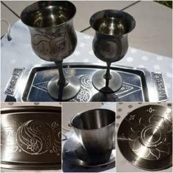 Size: 362x362 | Tagged: safe, artist:dawn-designs-art, artist:sapphire-burns-art, princess celestia, princess luna, alicorn, pony, cup, engrish, goblet, metal, photo, plate