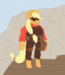 Size: 2105x2409   Tagged: safe, artist:sufficient, applejack, semi-anthro, bipedal, cliff, clothes, complex background, engineer, glasses, goggles, hard hat, hat, meme, midget, overalls, red team, rock, smug, solo, team fortress 2