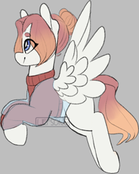 Size: 572x718 | Tagged: safe, artist:liefsong, oc, oc:sunset, pegasus, clothes, flying, gradient mane, hair bun, jacket, patreon, sweater