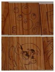 Size: 365x480   Tagged: safe, artist:dawn-designs-art, artist:sapphire-burns-art, derpy hooves, pegasus, pony, cutie mark, photo, pyrography, traditional art, wood