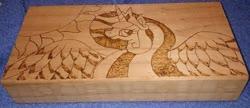 Size: 875x378   Tagged: safe, artist:dawn-designs-art, artist:sapphire-burns-art, princess celestia, alicorn, pony, photo, pyrography, traditional art, wood