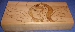 Size: 799x345   Tagged: safe, artist:dawn-designs-art, artist:sapphire-burns-art, princess luna, alicorn, pony, photo, pyrography, traditional art, wood