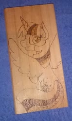Size: 397x670   Tagged: safe, artist:dawn-designs-art, artist:sapphire-burns-art, twilight sparkle, alicorn, pony, photo, pyrography, traditional art, twilight sparkle (alicorn), wood