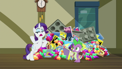 Size: 1920x1080 | Tagged: safe, screencap, gabby, rarity, spike, dragon, pony, unicorn, dragon dropped, comic book, female, food, gem, ice cream, male, mare, post office, winged spike