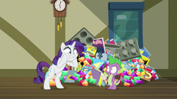 Size: 1920x1080 | Tagged: safe, screencap, gabby, rarity, spike, dragon, pony, unicorn, dragon dropped, comic book, female, food, gem, ice cream, mare, post office, winged spike