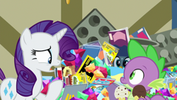 Size: 1920x1080 | Tagged: safe, screencap, gabby, rarity, spike, dragon, pony, unicorn, dragon dropped, comic book, female, food, gem, ice cream, ice cream cone, male, mare, post office, winged spike, wings