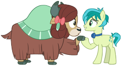 Size: 9457x5134   Tagged: safe, artist:andoanimalia, sandbar, yona, earth pony, pony, yak, she's all yak, abstract background, bow, bowtie, canon x canon, cloven hooves, female, hair bow, holding hooves, male, monkey swings, shipping, simple background, story included, straight, transparent background, vector, yonabar