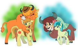 Size: 1024x634 | Tagged: safe, artist:faitheverlasting, braeburn, little strongheart, sandbar, yona, buffalo, earth pony, pony, yak, the last problem, beard, bow, braeheart, cloven hooves, cowboy hat, eyes closed, facial hair, feather, female, hair bow, hat, headdress, larger female, male, monkey swings, older, older braeburn, older little strongheart, older sandbar, older yona, one eye closed, shipping, simple background, size difference, smiling, straight, transparent background, vector, yonabar