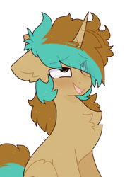Size: 772x1032 | Tagged: safe, artist:little-sketches, derpibooru exclusive, oc, oc only, oc:demi, oc:demiurgic theory, unicorn, ahegao, blushing, chest fluff, cute, eyes rolling back, fluffy, looking pleasured, male, messy mane, open mouth, pleased, simple background, solo, stallion, tongue out, transparent background