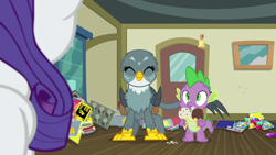 Size: 1920x1080 | Tagged: safe, screencap, gabby, rarity, spike, dragon, griffon, dragon dropped, comic book, female, food, gem, ice cream, ice cream cone, male, post office, winged spike, wings