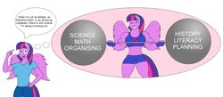 Size: 4601x2009 | Tagged: safe, artist:matchstickman, twilight sparkle, alicorn, anthro, abs, barbell, biceps, breasts, busty twilight sparkle, clothes, deltoids, dialogue, female, fingerless gloves, gloves, gym shorts, hand on hip, imagine spot, jeans, mare, muscles, muscular female, pants, sexy, shirt, shorts, simple background, sports bra, sweat, t-shirt, twilight muscle, twilight sparkle (alicorn), weight lifting, white background