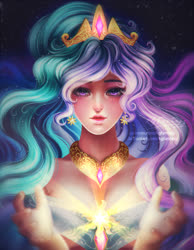 Size: 700x900 | Tagged: safe, artist:kgfantasy, princess celestia, human, bare shoulders, bust, crepuscular rays, crown, cutie mark, cutie mark accessory, ear piercing, earring, female, humanized, jewelry, piercing, regalia, solo