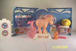 Size: 603x402   Tagged: safe, photographer:kisscurl, butterscotch (g1), twinkles, cat, basket, bridle, comb, g1, hat, playset, pretty parlor, reins, saddle, tack, toy