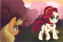 Size: 1969x1321 | Tagged: safe, artist:camaleao, applejack, cherry jubilee, earth pony, pony, the last roundup, butt, cherry orchard, female, lidded eyes, looking back, mare, missing accessory, plot