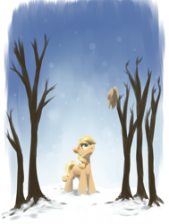 Size: 1224x1617   Tagged: safe, artist:ravistdash, applejack, earth pony, pony, ^, hat, hatless, looking up, missing accessory, snow, solo, winter