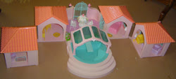 Size: 800x362   Tagged: safe, photographer:breyer600, bed, chair, crib, g1, paradise estate, playset, table, umbrella