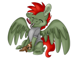 Size: 2500x2000 | Tagged: safe, artist:euspuche, oc, oc only, oc:jet lag, pegasus, cheek fluff, commission, plushie, simple background, solo, teddy bear, transparent background