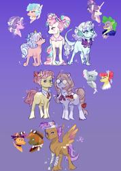 Size: 1200x1682 | Tagged: safe, artist:bunnari, apple bloom, button mash, cozy glow, diamond tiara, scootaloo, silver spoon, spike, sweetie belle, oc, oc:cherub darling, oc:gold leaf, oc:harp tone, oc:littlepipot, oc:snow veil, oc:tea leaf, dracony, dragon, earth pony, hybrid, pegasus, pony, applespoon, colored wings, colt, diamondglow, female, filly, interspecies offspring, lesbian, magical lesbian spawn, male, multicolored wings, offspring, parent:apple bloom, parent:button mash, parent:cozy glow, parent:diamond tiara, parent:scootaloo, parent:silver spoon, parent:spike, parent:sweetie belle, parents:applespoon, parents:diamondglow, parents:scootamash, parents:spikebelle, scootamash, shipping, spikebelle, straight, wings