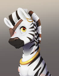 Size: 1155x1470 | Tagged: safe, artist:silfoe, oc, oc only, zebra, bust, ear piercing, earring, eye scar, eyepatch, gray background, jewelry, piercing, scar, simple background, solo, zebra oc