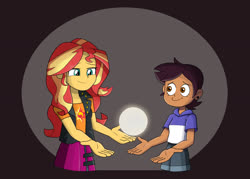 Size: 1400x1000 | Tagged: safe, artist:mew-me, sunset shimmer, equestria girls, crossover, light, luz noceda, the owl house