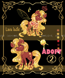 Size: 934x1118 | Tagged: safe, artist:mdwines, oc, oc only, breezie, earth pony, goo, goo pony, original species, pony, adoptable, adopted, adoption, adopts, advertisement, auction, auction open, breeziefied, cutie mark, gold, lava, lava lamp, outfit, solo, species swap, wax