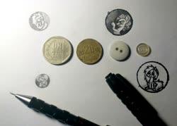 Size: 1024x733 | Tagged: safe, artist:zetamad, pinkie pie, oc, oc:lemon sketch, pony, button, coin, money, traditional art