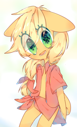 Size: 1080x1782   Tagged: safe, artist:ealfabo, applejack, semi-anthro, cute, eye clipping through hair, female, floppy ears, hatless, jackabetes, looking at you, missing accessory, open mouth, simple background, solo, white background