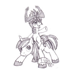 Size: 1232x1240 | Tagged: safe, artist:rmcfarland3, shining armor, twilight sparkle, pony, unicorn, bbbff, blank flank, brother and sister, colt, colt shining armor, duo, female, filly, filly twilight sparkle, fused shadow, grayscale, helmet, male, midna, midna sparkle, monochrome, name pun, pencil drawing, ponies riding ponies, riding, shackles, siblings, simple background, sketch, the legend of zelda, the legend of zelda: twilight princess, traditional art, white background, wolf link, younger