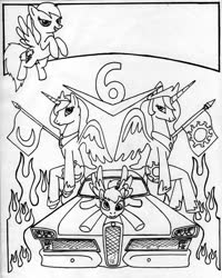 Size: 900x1124 | Tagged: safe, artist:sketchywolf-13, derpy hooves, princess celestia, princess luna, rainbow dash, alicorn, pegasus, pony, car, collar, crown, cutie mark, female, flag, ford, ford edsel, horn, jewelry, mare, monochrome, regalia, traditional art, wings