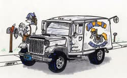 Size: 900x555   Tagged: safe, artist:sketchywolf-13, derpy hooves, oc, anthro, pony, unicorn, wolf, car, decal, female, furry, furry oc, jeep, letter, mail truck, mailbag, mailbox, mailmare, traditional art, wings
