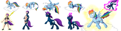 Size: 3250x850 | Tagged: safe, artist:tomek1000, lightning bolt, rainbow dash, oc, oc:thunder glade, human, pegasus, pony, unicorn, cloud, disappearing clothes, glowing horn, grin, horn, human to pony, laughing, levitation, magic, on a cloud, rainbow douche, revenge, self-levitation, smiling, smirk, telekinesis, transformation, transformation sequence, unicorn oc, zapped